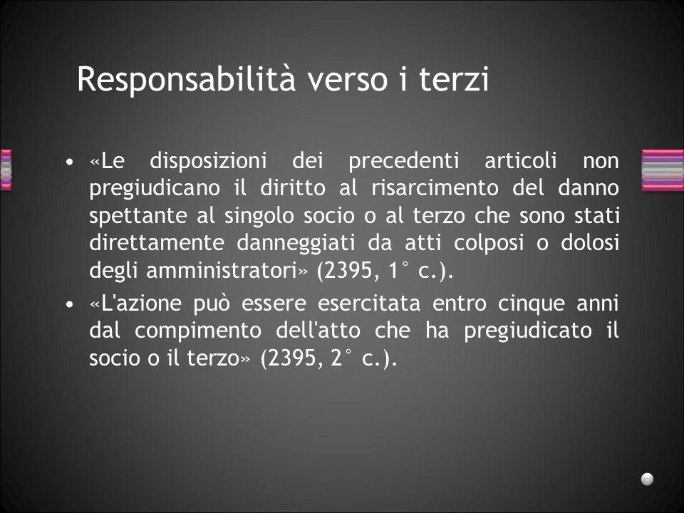Responsabilità verso i terzi «Le disposizioni dei precedenti articoli non pregiudicano il diritto al risarcimento del danno spettante al singolo socio