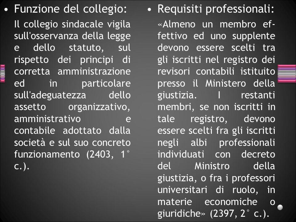 Funzione del collegio: Il collegio sindacale vigila sull'osservanza della legge e dello statuto, sul rispetto dei principi di corretta amministrazione