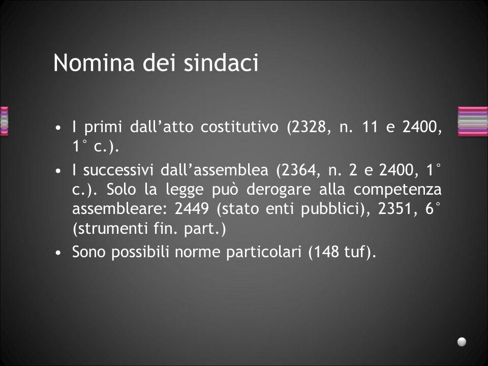 Nomina dei sindaci I primi dallatto costitutivo (2328, n. 11 e 2400, 1° c.). I successivi dallassemblea (2364, n. 2 e 2400, 1° c.). Solo la legge può