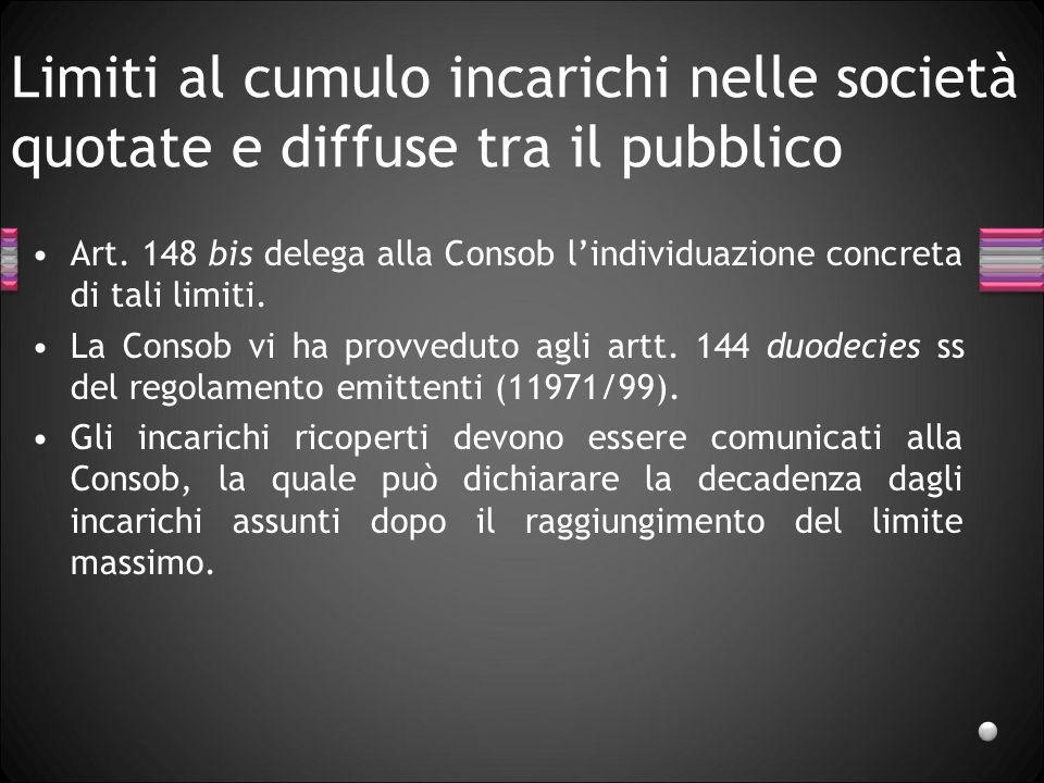 Limiti al cumulo incarichi nelle società quotate e diffuse tra il pubblico Art. 148 bis delega alla Consob lindividuazione concreta di tali limiti. La