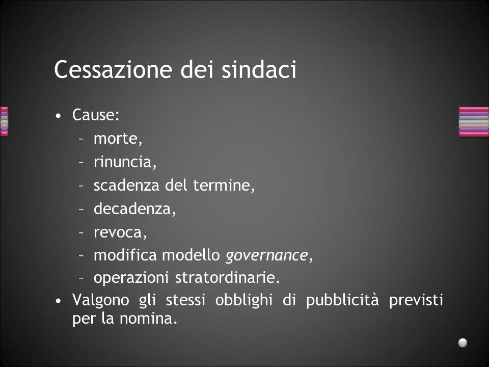 Cessazione dei sindaci Cause: –morte, –rinuncia, –scadenza del termine, –decadenza, –revoca, –modifica modello governance, –operazioni stratordinarie.