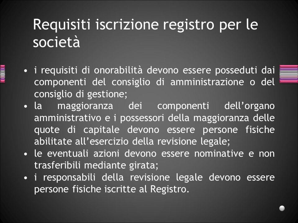 Requisiti iscrizione registro per le società i requisiti di onorabilità devono essere posseduti dai componenti del consiglio di amministrazione o del