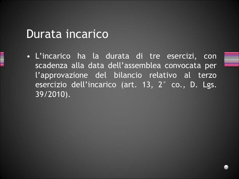 Durata incarico Lincarico ha la durata di tre esercizi, con scadenza alla data dellassemblea convocata per lapprovazione del bilancio relativo al terz