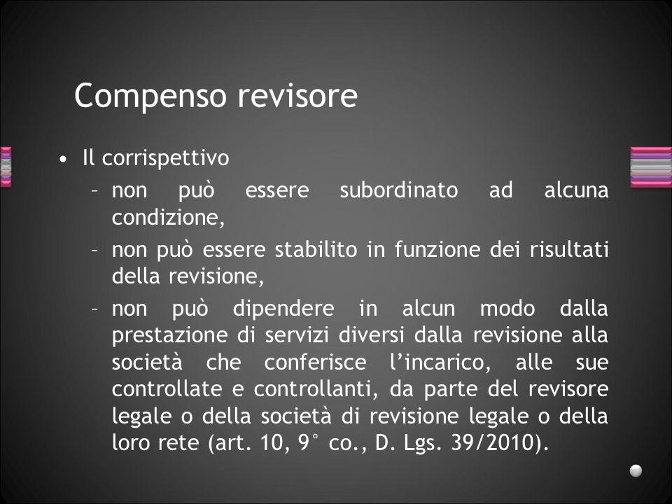 Compenso revisore Il corrispettivo –non può essere subordinato ad alcuna condizione, –non può essere stabilito in funzione dei risultati della revisio