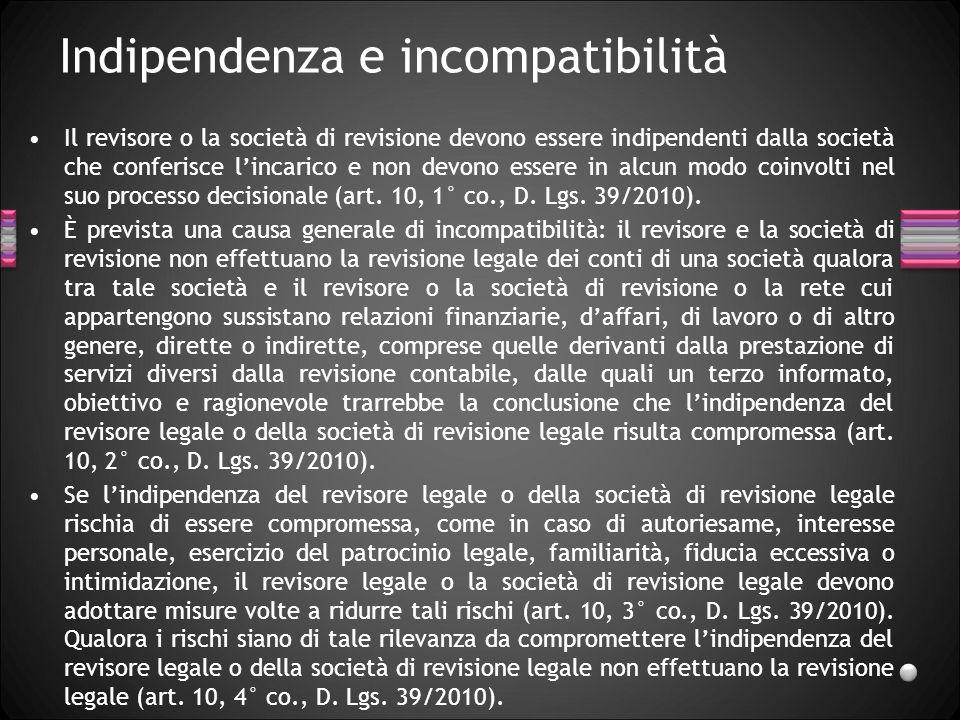 Indipendenza e incompatibilità Il revisore o la società di revisione devono essere indipendenti dalla società che conferisce lincarico e non devono es