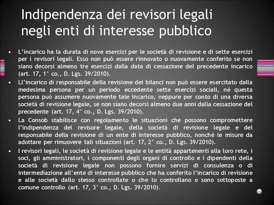 Indipendenza dei revisori legali negli enti di interesse pubblico Lincarico ha la durata di nove esercizi per le società di revisione e di sette eserc