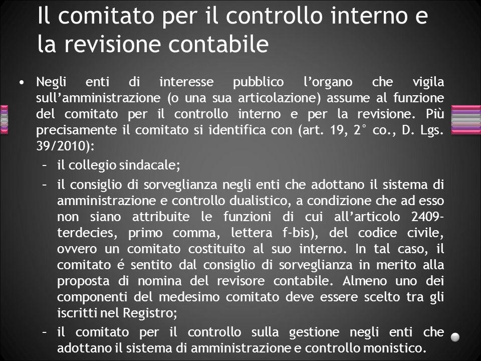 Il comitato per il controllo interno e la revisione contabile Negli enti di interesse pubblico lorgano che vigila sullamministrazione (o una sua artic