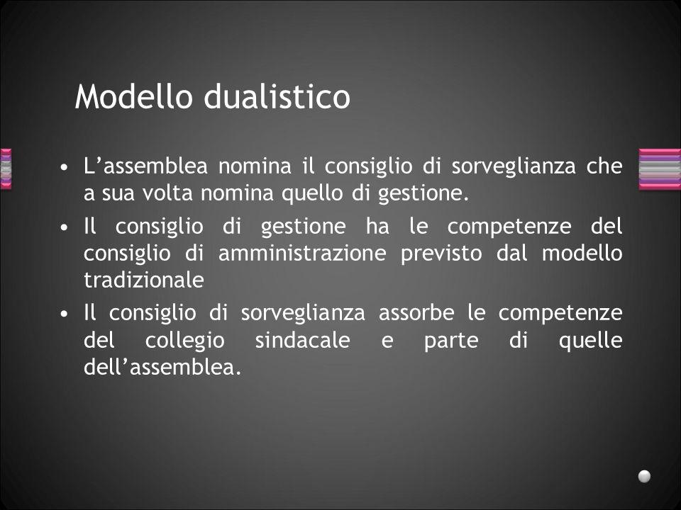 Modello dualistico Lassemblea nomina il consiglio di sorveglianza che a sua volta nomina quello di gestione. Il consiglio di gestione ha le competenze
