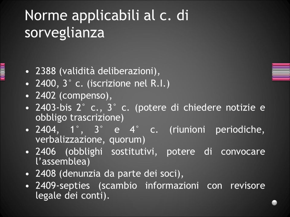 Norme applicabili al c. di sorveglianza 2388 (validità deliberazioni), 2400, 3° c. (iscrizione nel R.I.) 2402 (compenso), 2403-bis 2° c., 3° c. (poter