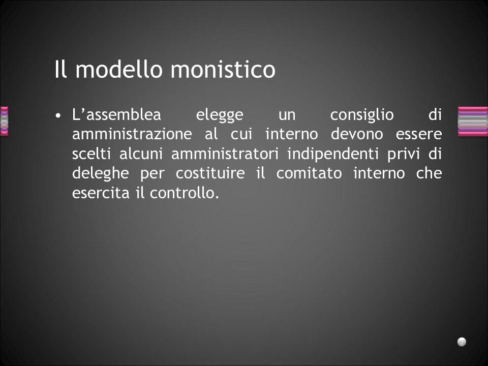Il modello monistico Lassemblea elegge un consiglio di amministrazione al cui interno devono essere scelti alcuni amministratori indipendenti privi di