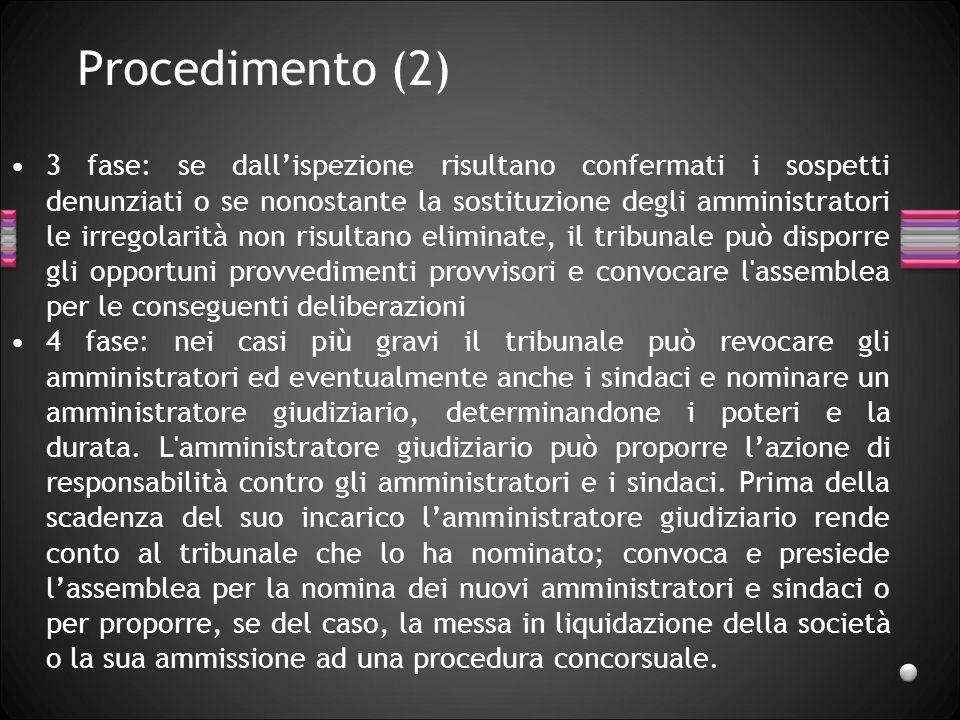 Procedimento (2) 3 fase: se dallispezione risultano confermati i sospetti denunziati o se nonostante la sostituzione degli amministratori le irregolar