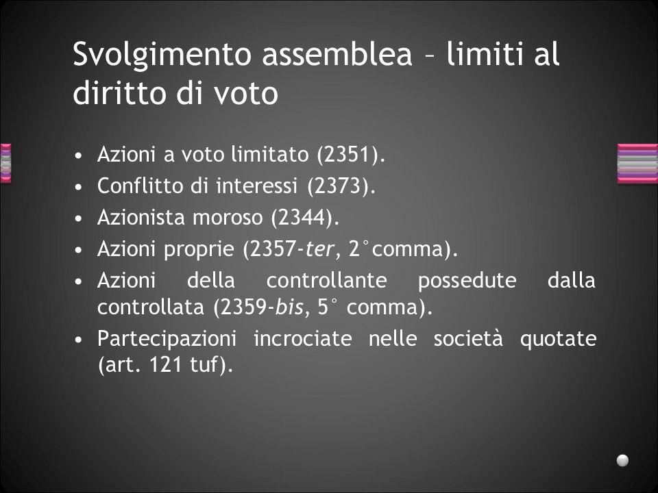Svolgimento assemblea – limiti al diritto di voto Azioni a voto limitato (2351). Conflitto di interessi (2373). Azionista moroso (2344). Azioni propri