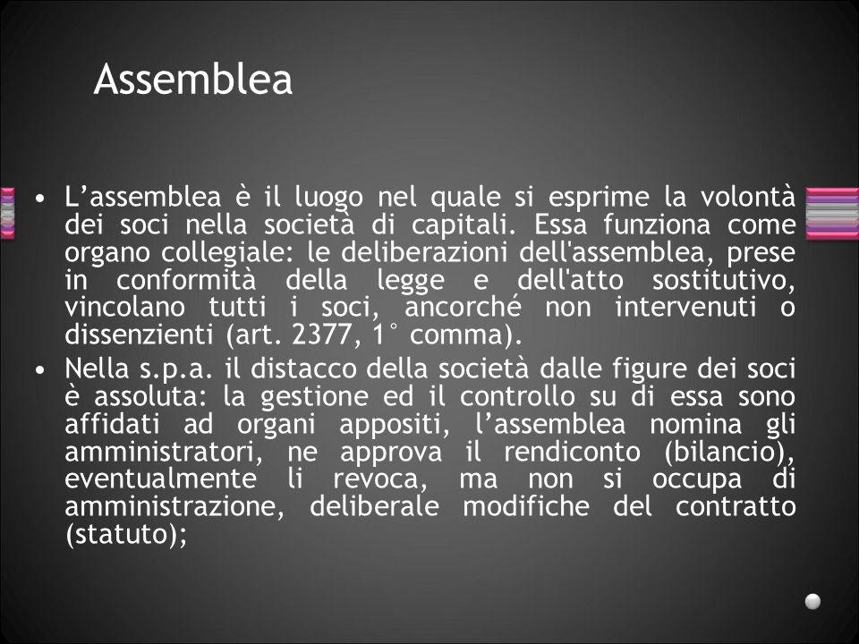 Assemblea Lassemblea è il luogo nel quale si esprime la volontà dei soci nella società di capitali. Essa funziona come organo collegiale: le deliberaz
