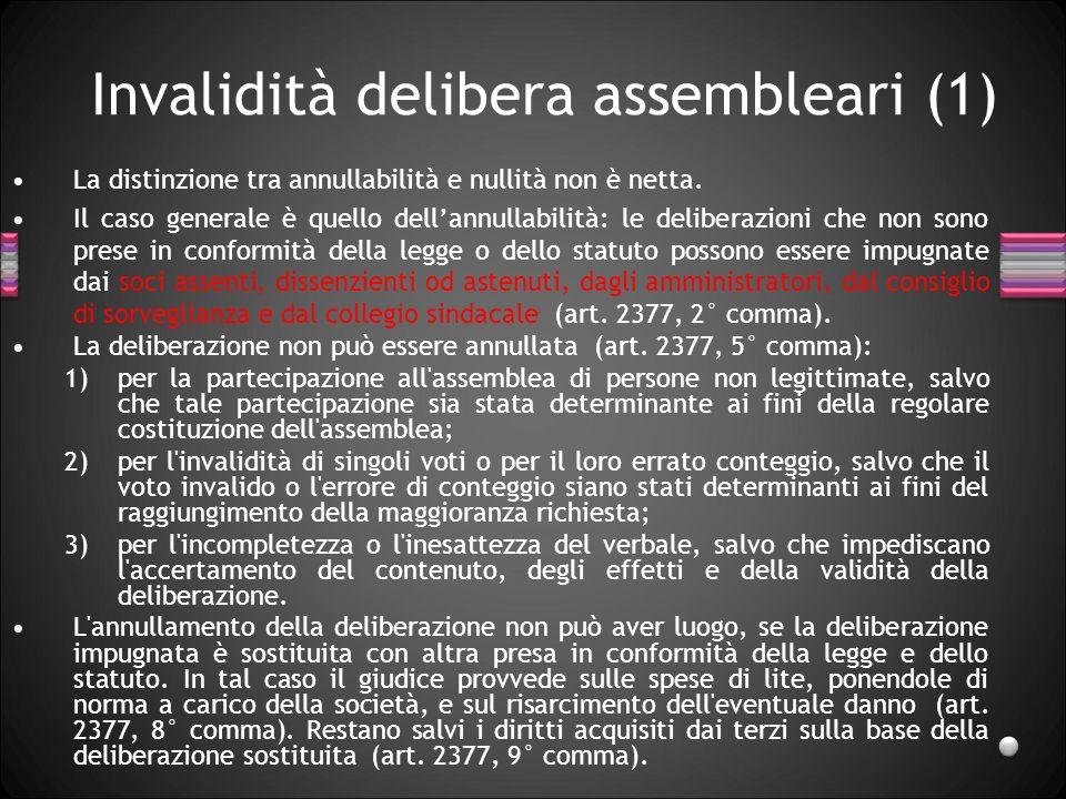 Invalidità delibera assembleari (1) La distinzione tra annullabilità e nullità non è netta. Il caso generale è quello dellannullabilità: le deliberazi