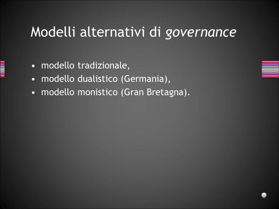 Modelli alternativi di governance modello tradizionale, modello dualistico (Germania), modello monistico (Gran Bretagna).