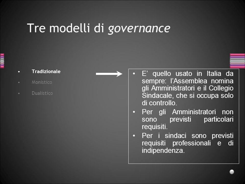 Tre modelli di governance Tradizionale Monistico Dualistico E quello usato in Italia da sempre: lAssemblea nomina gli Amministratori e il Collegio Sin