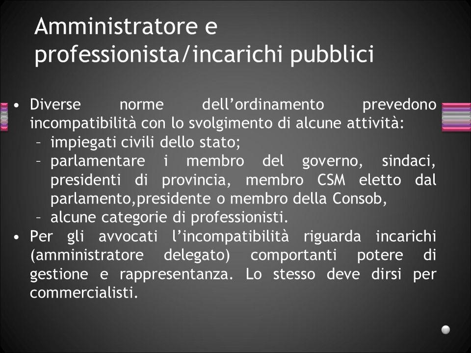 Amministratore e professionista/incarichi pubblici Diverse norme dellordinamento prevedono incompatibilità con lo svolgimento di alcune attività: –imp