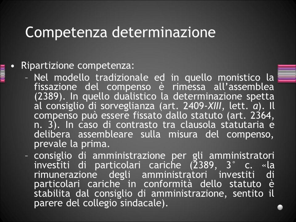 Competenza determinazione Ripartizione competenza: –Nel modello tradizionale ed in quello monistico la fissazione del compenso è rimessa allassemblea
