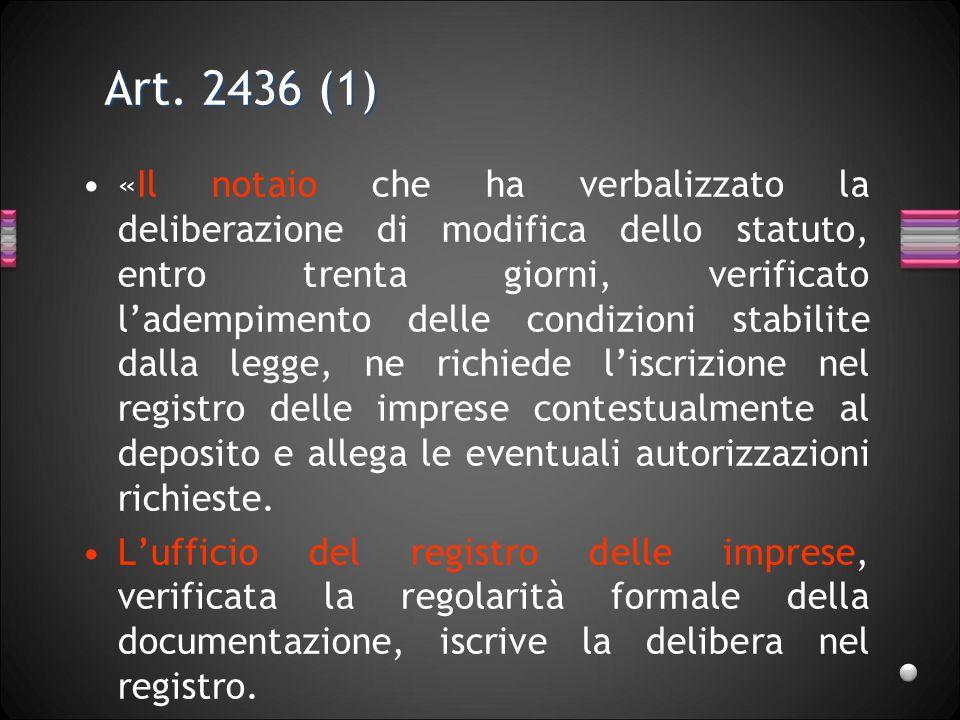Art. 2436 (1) «Il notaio che ha verbalizzato la deliberazione di modifica dello statuto, entro trenta giorni, verificato ladempimento delle condizioni