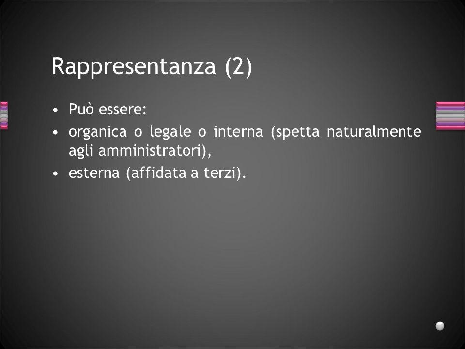 Rappresentanza (2) Può essere: organica o legale o interna (spetta naturalmente agli amministratori), esterna (affidata a terzi).
