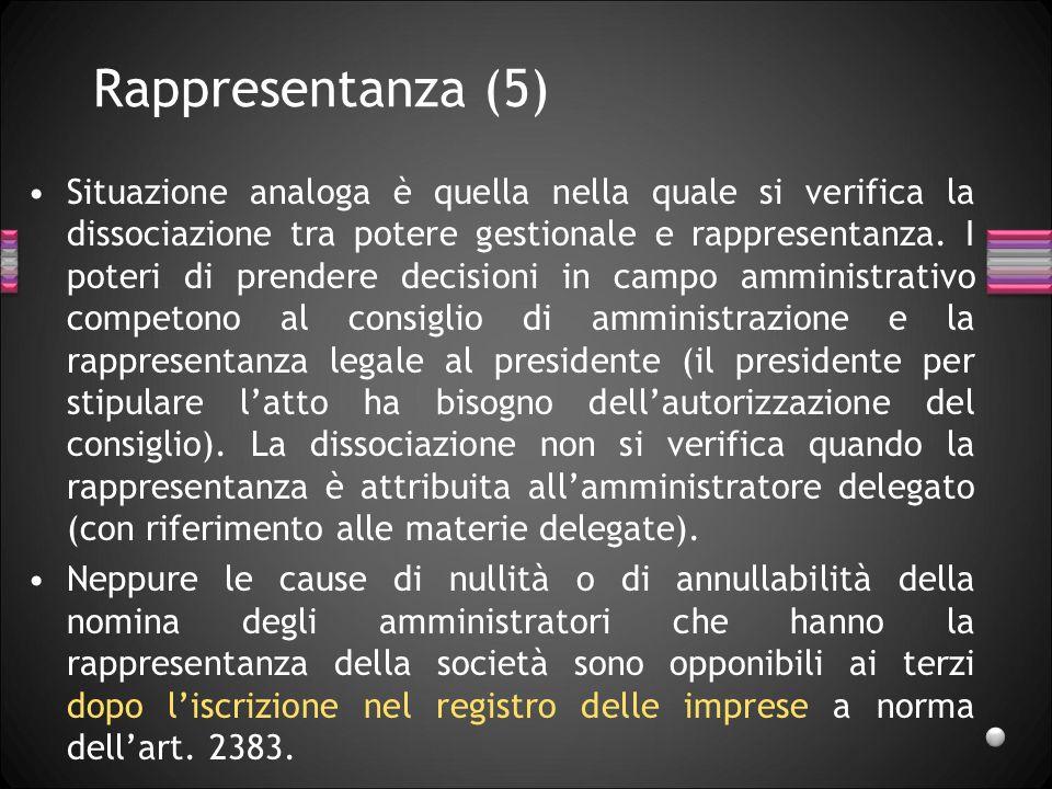Rappresentanza (5) Situazione analoga è quella nella quale si verifica la dissociazione tra potere gestionale e rappresentanza. I poteri di prendere d