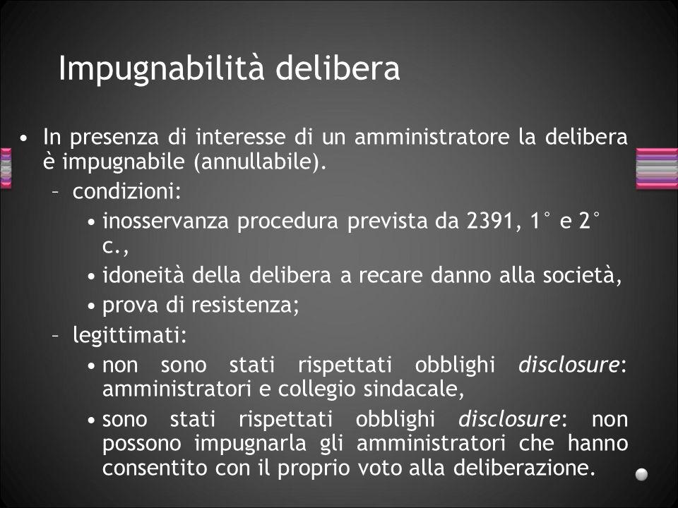 Impugnabilità delibera In presenza di interesse di un amministratore la delibera è impugnabile (annullabile). –condizioni: inosservanza procedura prev