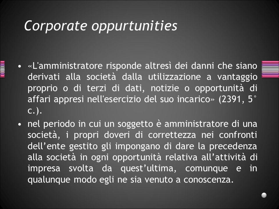 Corporate oppurtunities «L'amministratore risponde altresì dei danni che siano derivati alla società dalla utilizzazione a vantaggio proprio o di terz