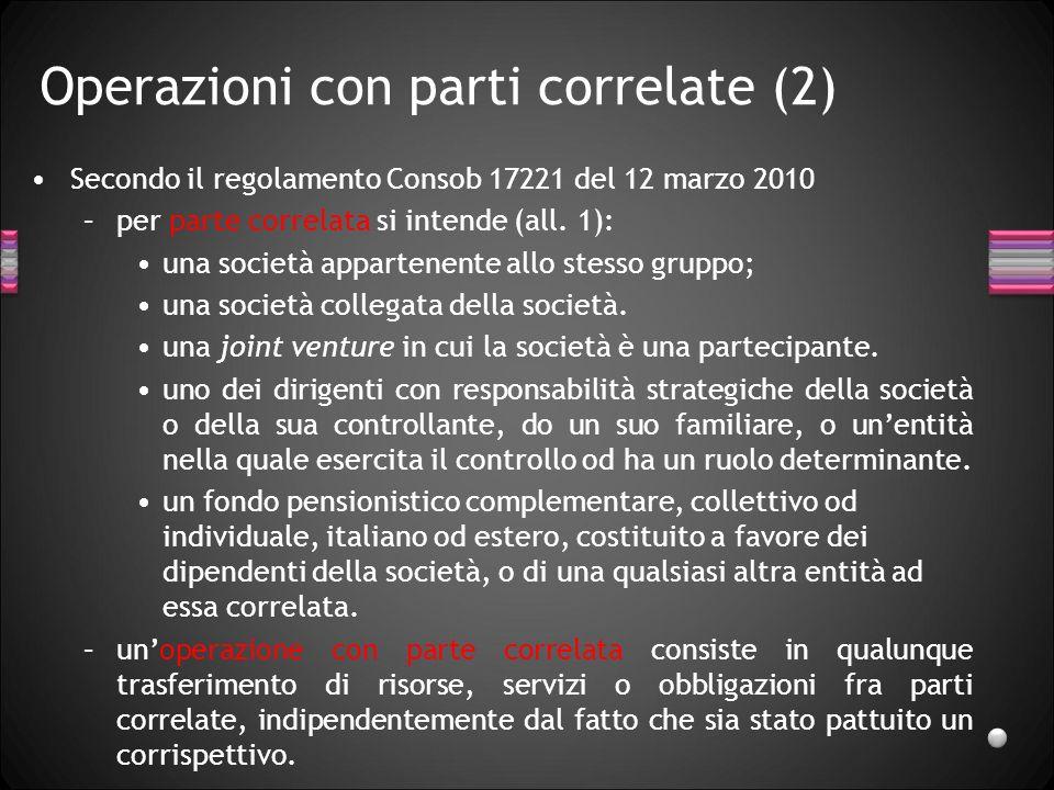 Operazioni con parti correlate (2) Secondo il regolamento Consob 17221 del 12 marzo 2010 –per parte correlata si intende (all. 1): una società apparte