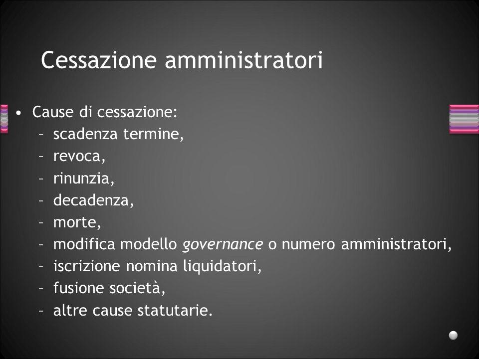 Cessazione amministratori Cause di cessazione: –scadenza termine, –revoca, –rinunzia, –decadenza, –morte, –modifica modello governance o numero ammini