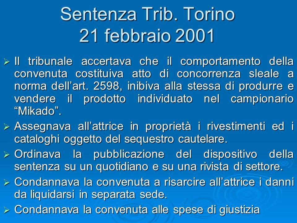 Appello Torino La sentenza veniva impugnata dalla Lederplast che ne chiedeva lintegrale riforma.