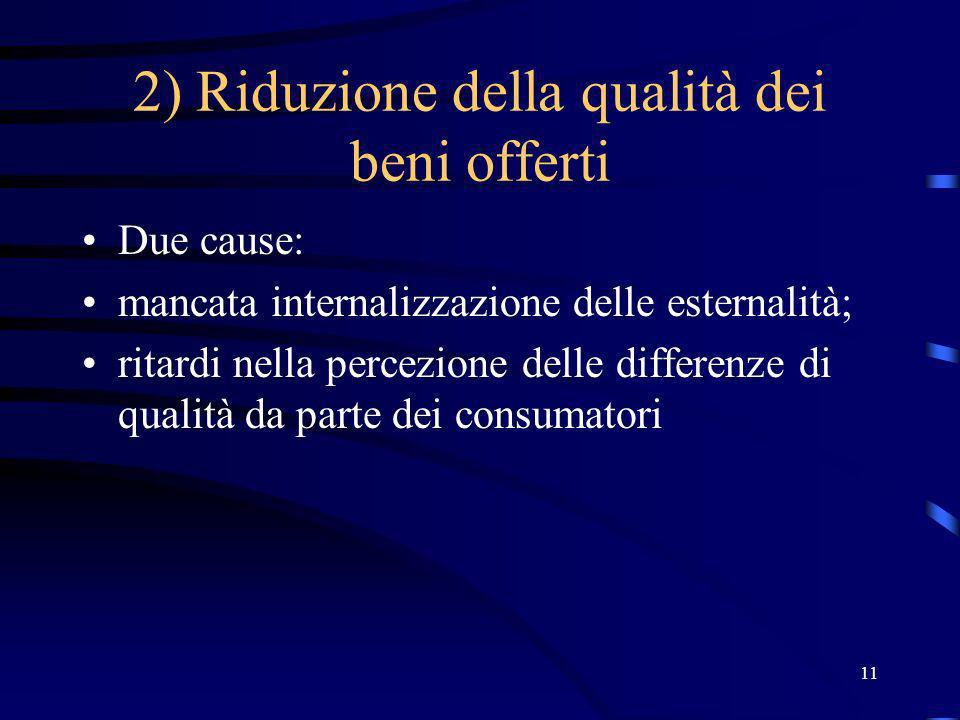 11 2) Riduzione della qualità dei beni offerti Due cause: mancata internalizzazione delle esternalità; ritardi nella percezione delle differenze di qualità da parte dei consumatori