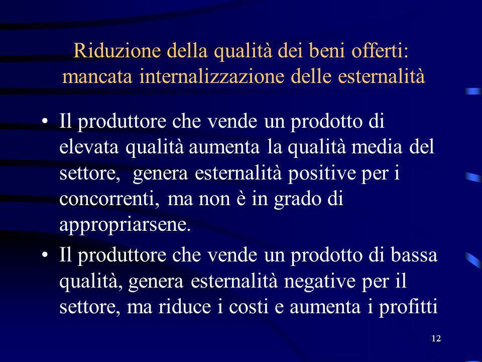 12 Riduzione della qualità dei beni offerti: mancata internalizzazione delle esternalità Il produttore che vende un prodotto di elevata qualità aumenta la qualità media del settore, genera esternalità positive per i concorrenti, ma non è in grado di appropriarsene.