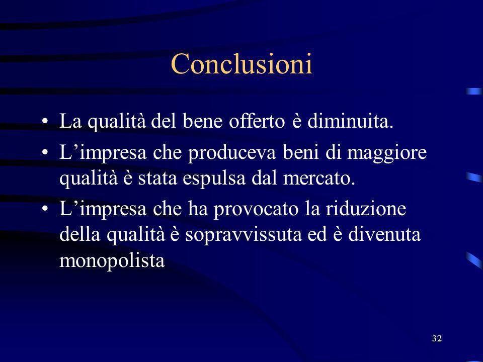 32 Conclusioni La qualità del bene offerto è diminuita.