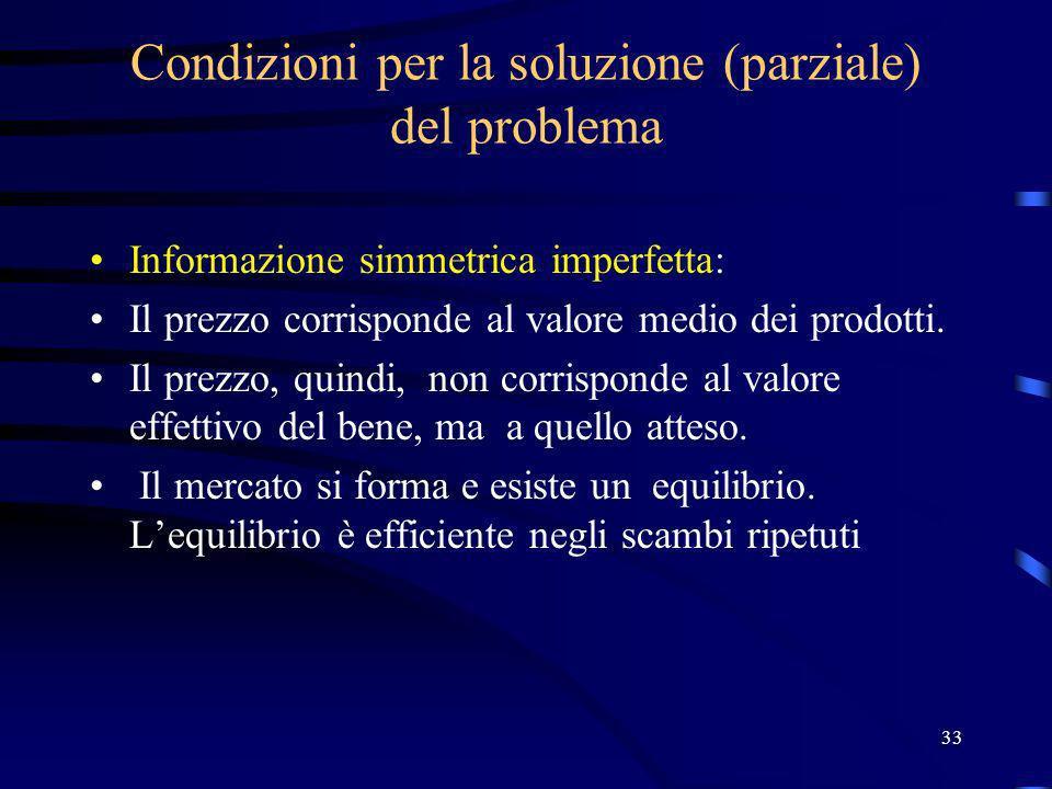 33 Condizioni per la soluzione (parziale) del problema Informazione simmetrica imperfetta: Il prezzo corrisponde al valore medio dei prodotti. Il prez