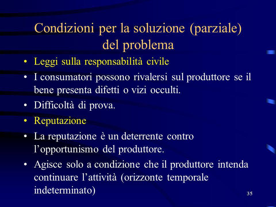 35 Condizioni per la soluzione (parziale) del problema Leggi sulla responsabilità civile I consumatori possono rivalersi sul produttore se il bene pre
