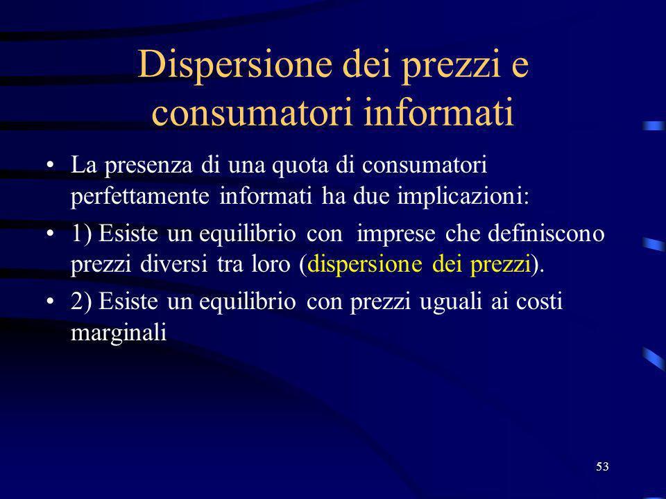 53 Dispersione dei prezzi e consumatori informati La presenza di una quota di consumatori perfettamente informati ha due implicazioni: 1) Esiste un eq