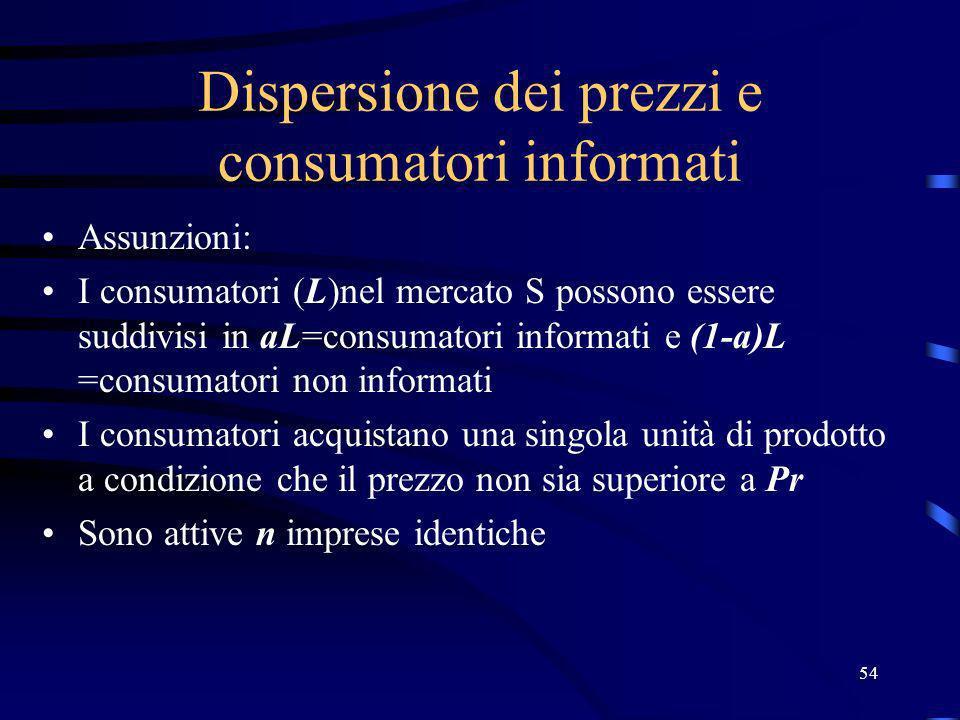 54 Dispersione dei prezzi e consumatori informati Assunzioni: I consumatori (L)nel mercato S possono essere suddivisi in aL=consumatori informati e (1