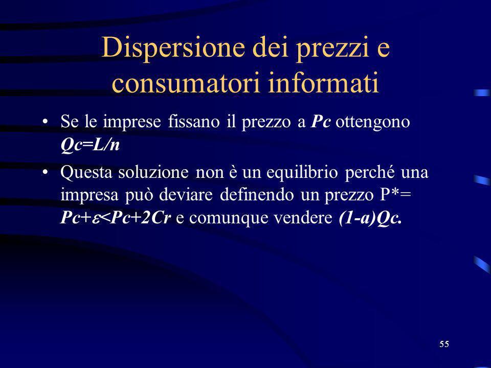 55 Dispersione dei prezzi e consumatori informati Se le imprese fissano il prezzo a Pc ottengono Qc=L/n Questa soluzione non è un equilibrio perché una impresa può deviare definendo un prezzo P*= Pc+ <Pc+2Cr e comunque vendere (1-a)Qc.