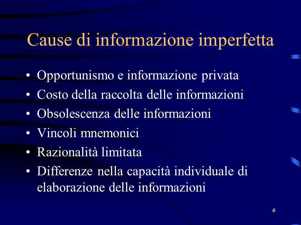 6 Cause di informazione imperfetta Opportunismo e informazione privata Costo della raccolta delle informazioni Obsolescenza delle informazioni Vincoli mnemonici Razionalità limitata Differenze nella capacità individuale di elaborazione delle informazioni