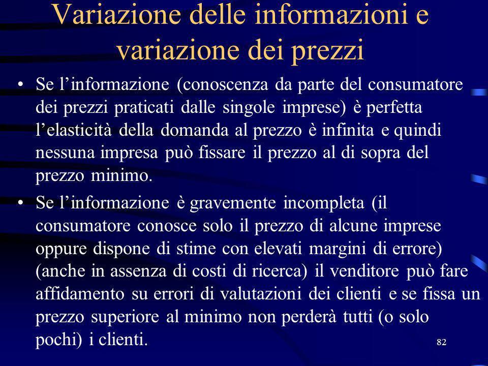 82 Variazione delle informazioni e variazione dei prezzi Se linformazione (conoscenza da parte del consumatore dei prezzi praticati dalle singole impr