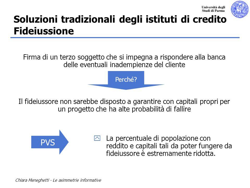 Chiara Meneghetti - Le asimmetrie informative Firma di un terzo soggetto che si impegna a rispondere alla banca delle eventuali inadempienze del clien