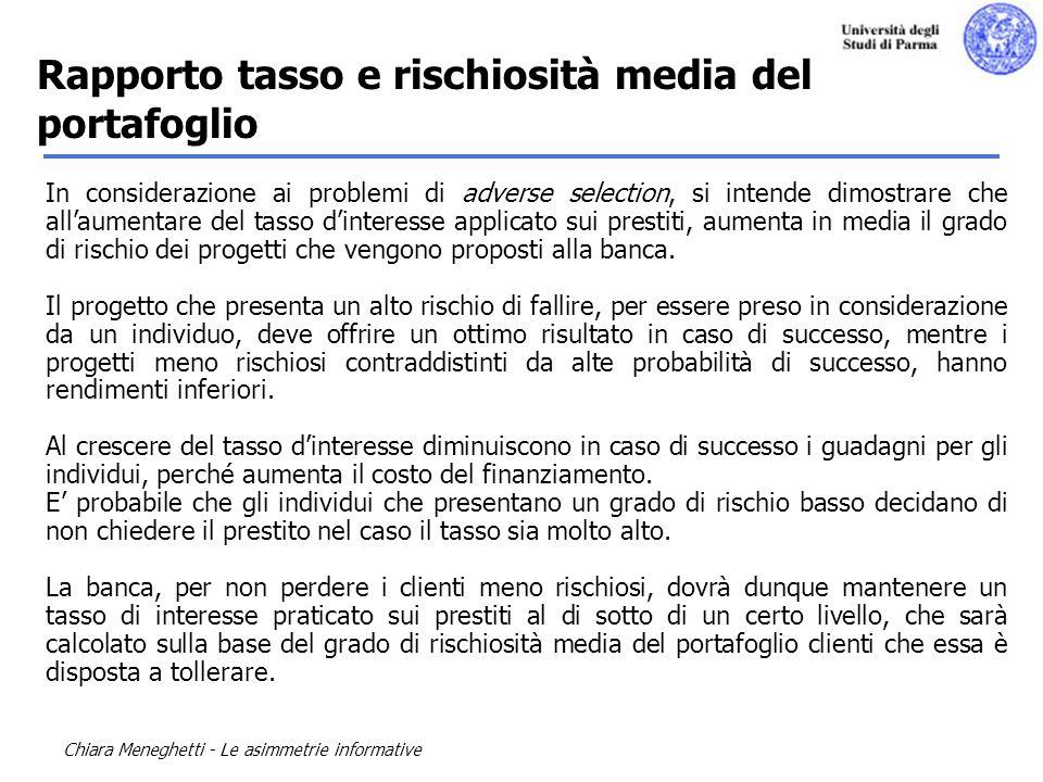 Chiara Meneghetti - Le asimmetrie informative In considerazione ai problemi di adverse selection, si intende dimostrare che allaumentare del tasso din