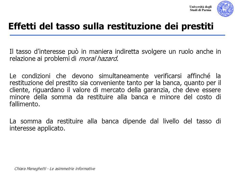 Chiara Meneghetti - Le asimmetrie informative Il tasso dinteresse può in maniera indiretta svolgere un ruolo anche in relazione ai problemi di moral h