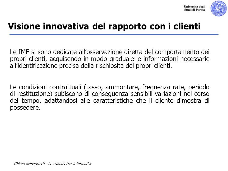 Chiara Meneghetti - Le asimmetrie informative Le IMF si sono dedicate allosservazione diretta del comportamento dei propri clienti, acquisendo in modo