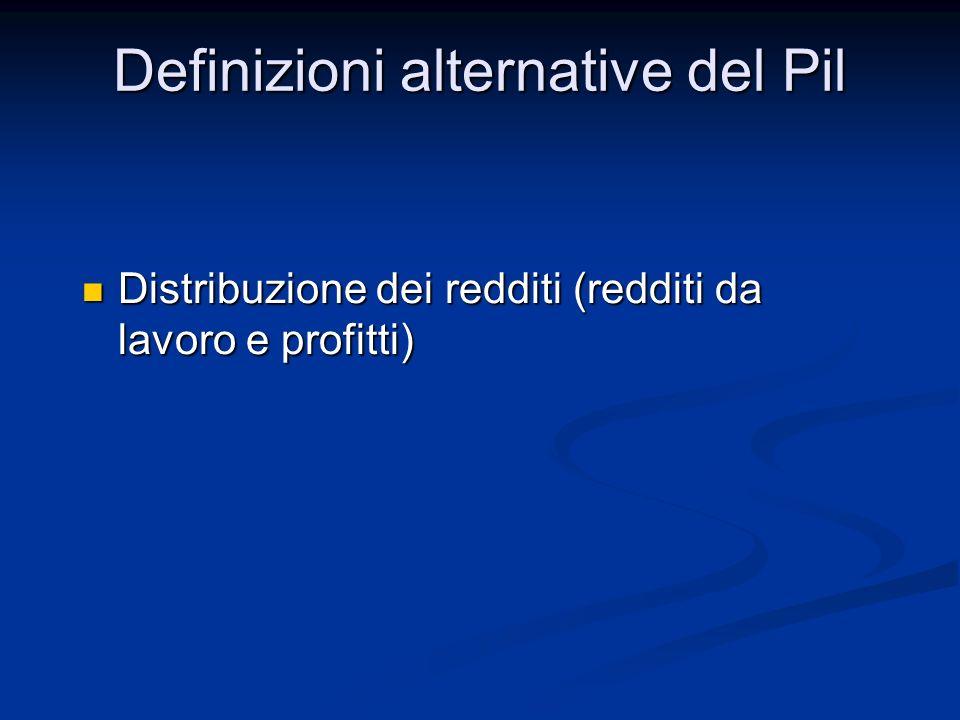 Distribuzione dei redditi (redditi da lavoro e profitti) Distribuzione dei redditi (redditi da lavoro e profitti) Definizioni alternative del Pil