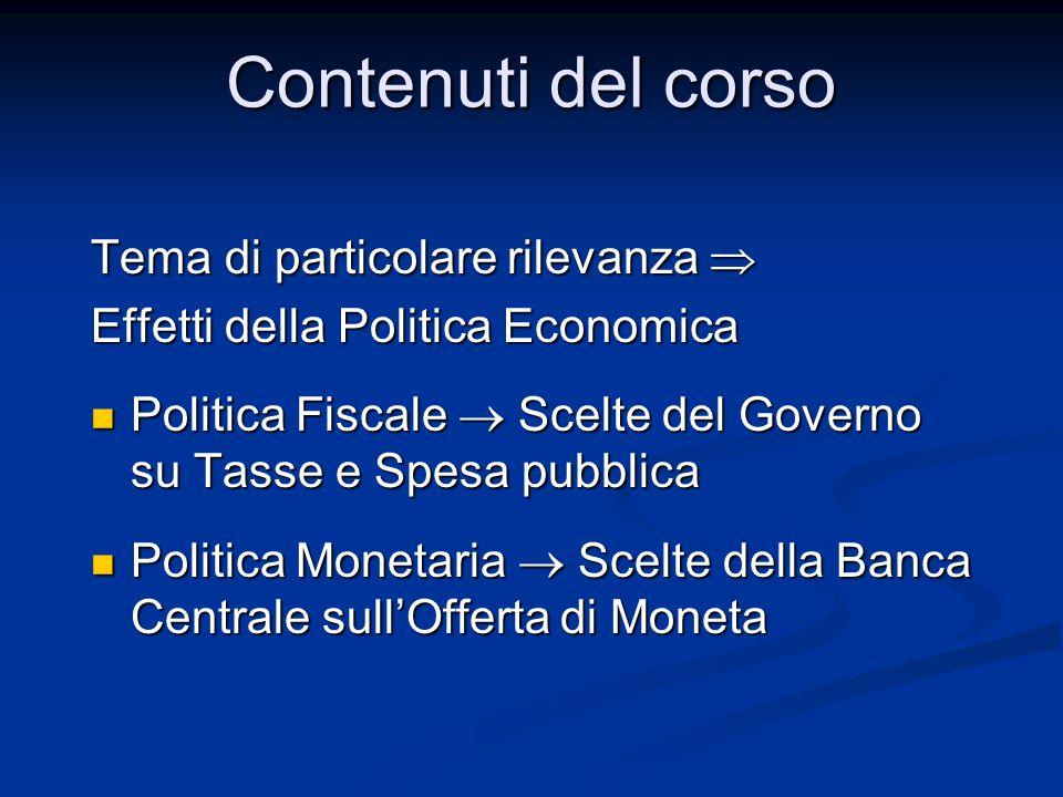 Contenuti del corso Tema di particolare rilevanza Tema di particolare rilevanza Effetti della Politica Economica Politica Fiscale Scelte del Governo s