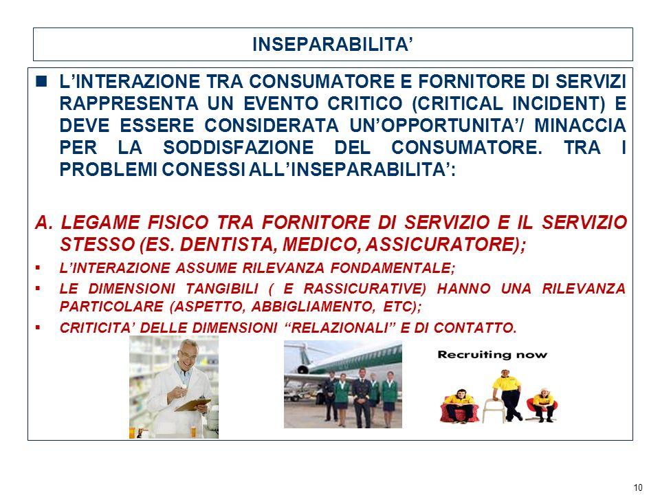 10 INSEPARABILITA LINTERAZIONE TRA CONSUMATORE E FORNITORE DI SERVIZI RAPPRESENTA UN EVENTO CRITICO (CRITICAL INCIDENT) E DEVE ESSERE CONSIDERATA UNOPPORTUNITA/ MINACCIA PER LA SODDISFAZIONE DEL CONSUMATORE.