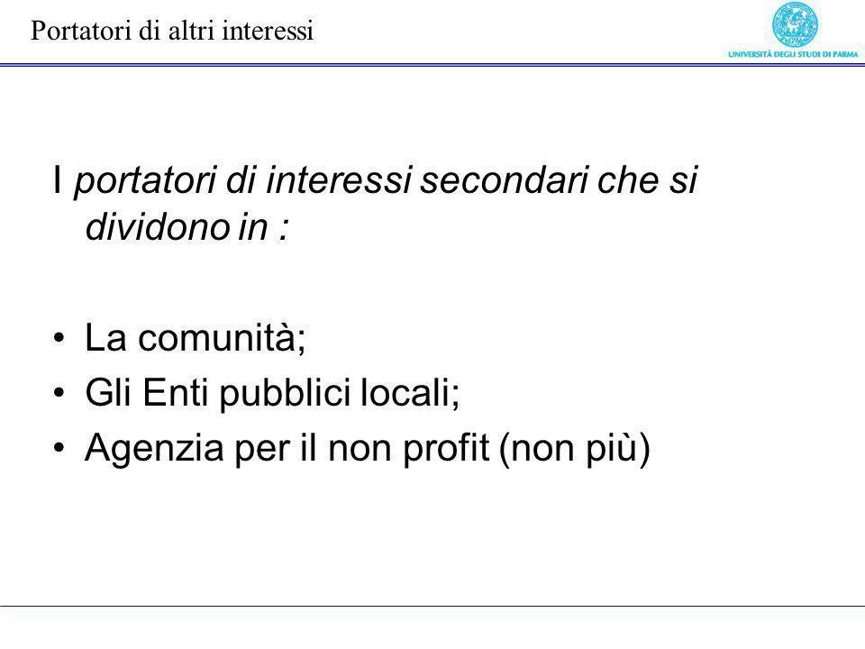 I portatori di interessi secondari che si dividono in : La comunità; Gli Enti pubblici locali; Agenzia per il non profit (non più) Portatori di altri