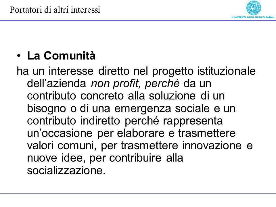 La Comunità ha un interesse diretto nel progetto istituzionale dellazienda non profit, perché da un contributo concreto alla soluzione di un bisogno o