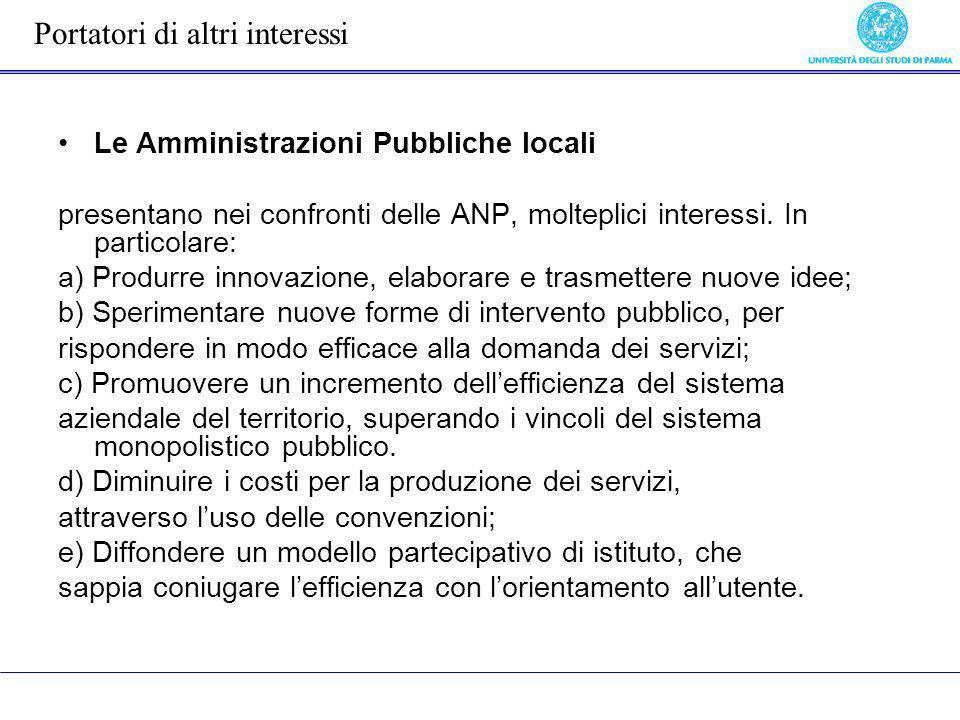 Le Amministrazioni Pubbliche locali presentano nei confronti delle ANP, molteplici interessi. In particolare: a) Produrre innovazione, elaborare e tra